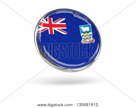 Flag Of Falkland Islands. Round Icon With Metal Frame