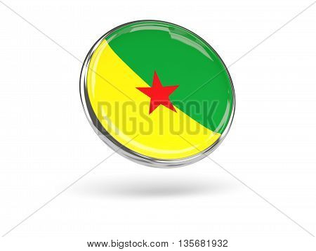 Flag Of French Guiana. Round Icon With Metal Frame