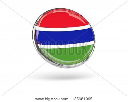 Flag Of Gambia. Round Icon With Metal Frame