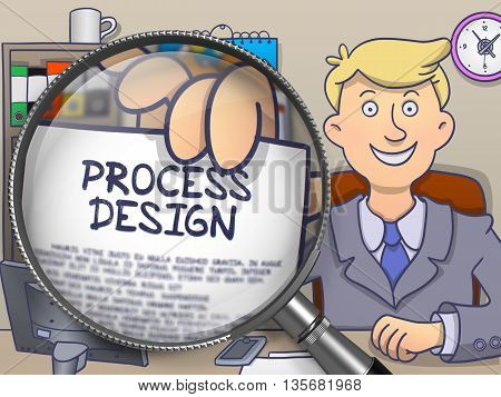Man in Suit Shows Paper with Process Design Concept through Lens. Closeup View. Colored Modern Line Illustration in Doodle Style.