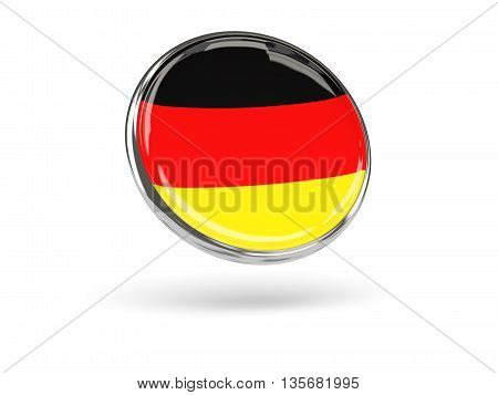 Flag Of Germany. Round Icon With Metal Frame