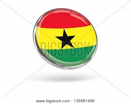 Flag Of Ghana. Round Icon With Metal Frame