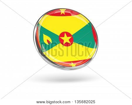 Flag Of Grenada. Round Icon With Metal Frame