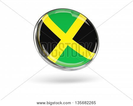 Flag Of Jamaica. Round Icon With Metal Frame