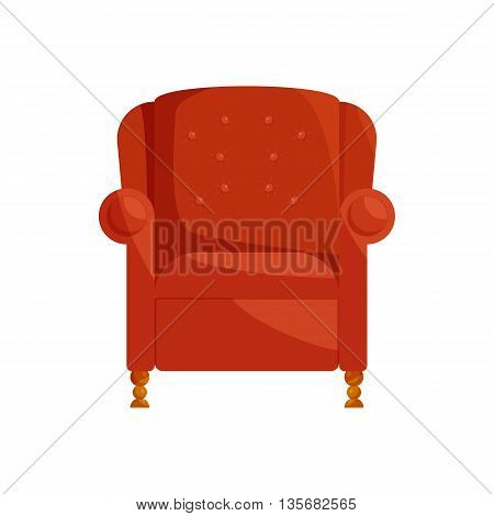 Brown armchair icon in cartoon style on a white background