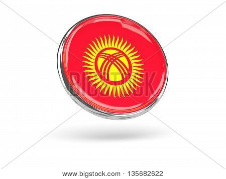 Flag Of Kyrgyzstan. Round Icon With Metal Frame