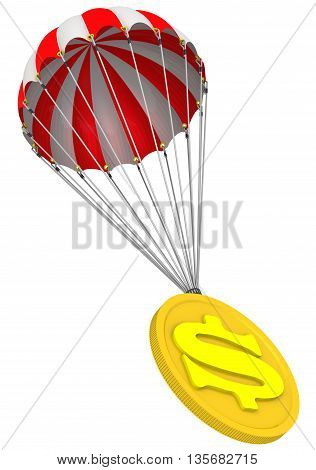 Gold coin with the symbol of the American dollar is falling down on parachute. Isolated. 3D Illustration