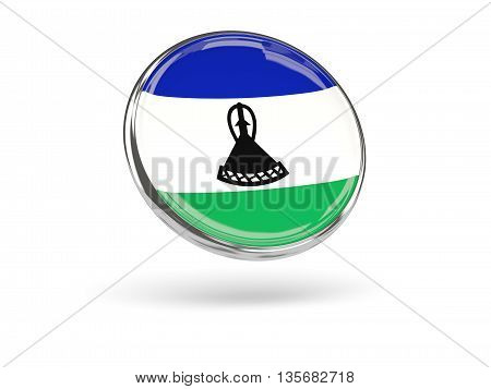 Flag Of Lesotho. Round Icon With Metal Frame