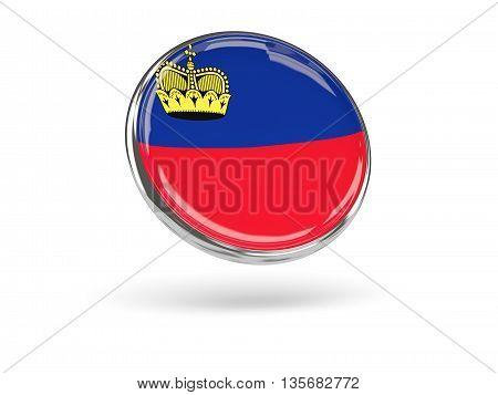 Flag Of Liechtenstein. Round Icon With Metal Frame