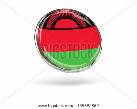 Flag Of Malawi. Round Icon With Metal Frame