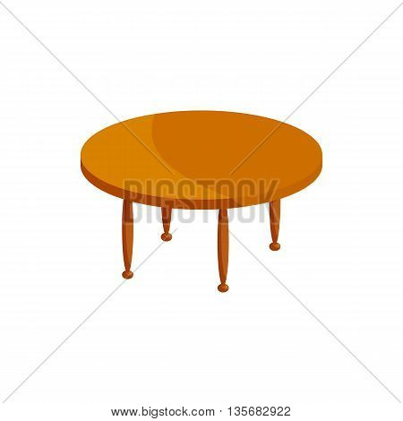 Round wooden table icon in cartoon style on a white background