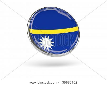 Flag Of Nauru. Round Icon With Metal Frame