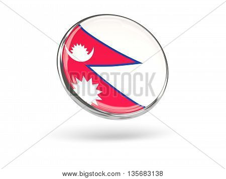 Flag Of Nepal. Round Icon With Metal Frame