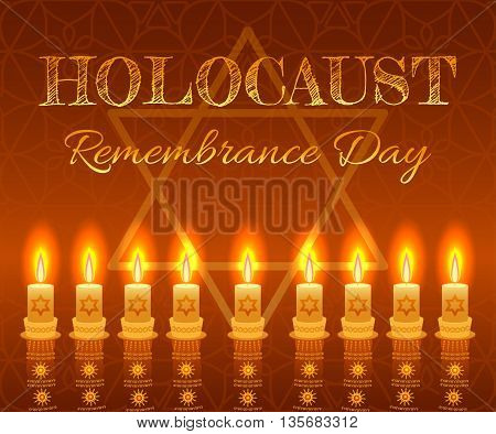 Holocaust remembrance day background. Candles, David star and jewels. Vector illustration.