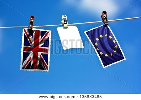 Brexit. Flags of the United Kingdom and the European Union to illustrate the exit of Great Britain from the EU