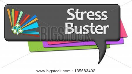 Stress busters text written over dark colorful background.