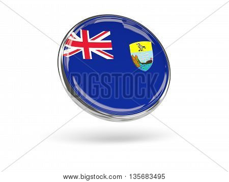 Flag Of Saint Helena. Round Icon With Metal Frame