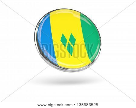 Flag Of Saint Vincent And The Grenadines. Round Icon With Metal Frame