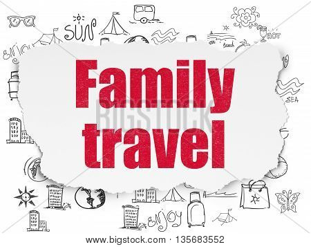 Travel concept: Painted red text Family Travel on Torn Paper background with  Hand Drawn Vacation Icons