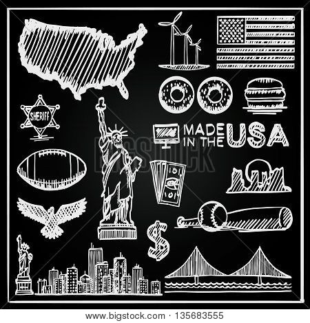 Chalkboard Collection of icons of the United States, America sketch set, Usa collection sign