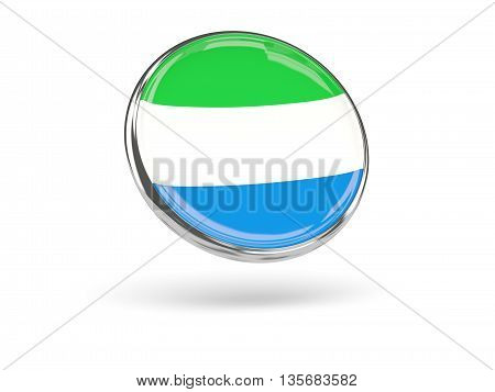 Flag Of Sierra Leone. Round Icon With Metal Frame