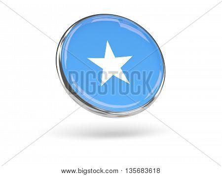 Flag Of Somalia. Round Icon With Metal Frame