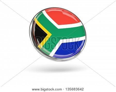 Flag Of South Africa. Round Icon With Metal Frame