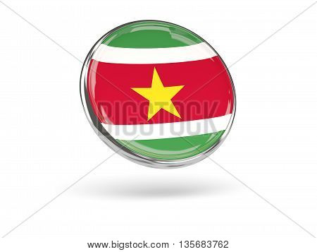 Flag Of Suriname. Round Icon With Metal Frame