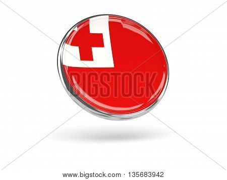 Flag Of Tonga. Round Icon With Metal Frame