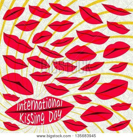 International kissing day background. Red lips. Vector illustration.