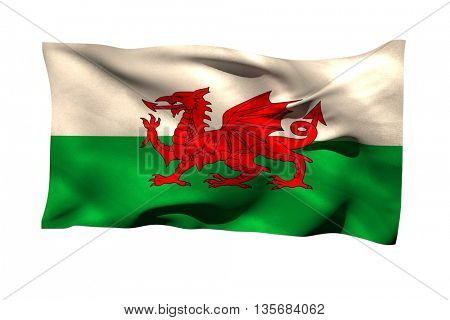 Close-up of Wales flag against white background