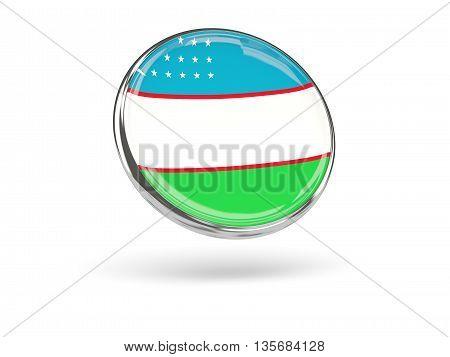 Flag Of Uzbekistan. Round Icon With Metal Frame