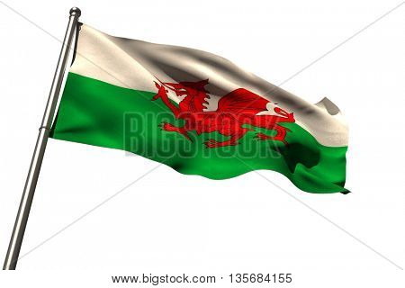 Low angle view of Wales flag against white background