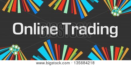 Online trading text written over dark colorful background.