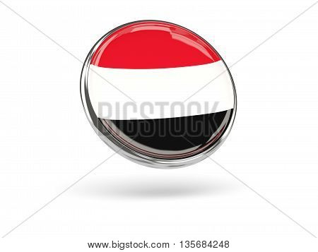 Flag Of Yemen. Round Icon With Metal Frame
