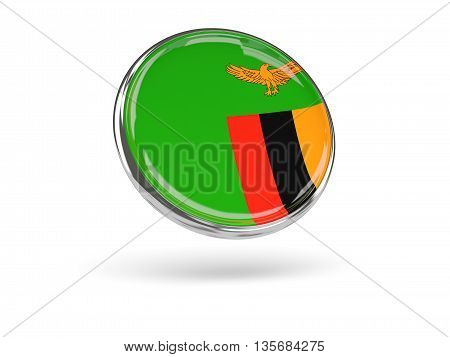Flag Of Zambia. Round Icon With Metal Frame