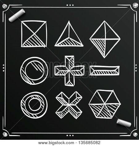Chalkboard polygonal sketch shapes, Sketch figures icon set, Vector illustration