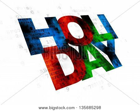 Vacation concept: Pixelated multicolor text Holiday on Digital background