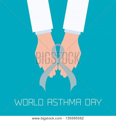 World Asthma Day concept with doctor hands holding a grey ribbon. Helping hand. Bronchial asthma awareness sign. National asthma day. Asthma solidarity day. Vector illustration.