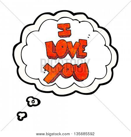 I love you freehand drawn thought bubble textured cartoon symbol