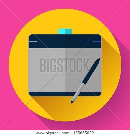 Graphic tablet icon. CG artist and Designer symbol. Flat design style