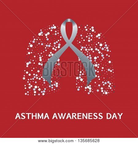 Asthma awareness day. Asthma concept with grey ribbon and lungs icons on red background. Asthma solidarity day. Bronchial asthma symbol. Vector illustration.