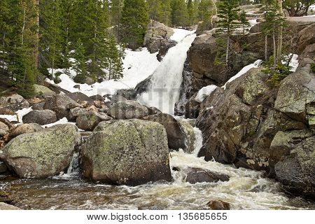 Waterfall in Rocky Mountains in Colorado in springtime