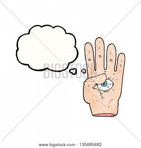freehand drawn thought bubble textured cartoon spooky hand with eyeball
