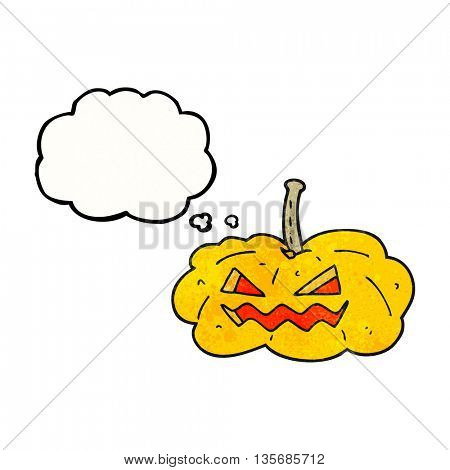 freehand drawn thought bubble textured cartoon halloween pumpkin
