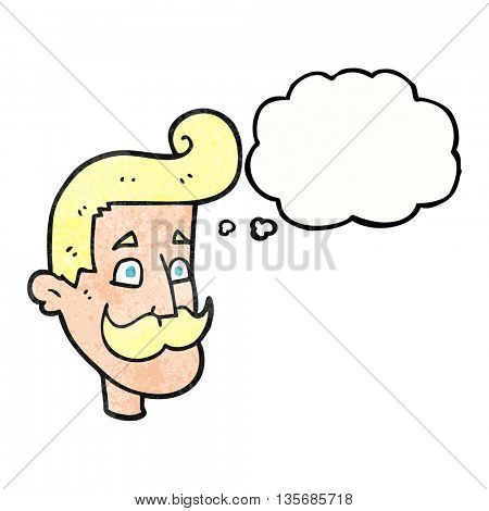 freehand drawn thought bubble textured cartoon man with mustache