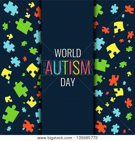 World Autism Day. Autism awareness poster with multicolored puzzle pieces on dark background. Autism solidarity day. Symbol of Autism. Vector illustration.