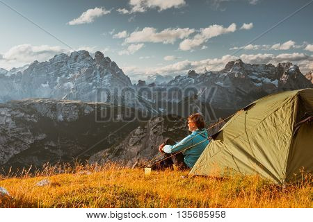 Camping in high mountains Drei Zinnen Dolomites Italy
