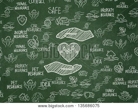 Insurance concept: Chalk White Heart And Palm icon on School board background with  Hand Drawn Insurance Icons, School Board