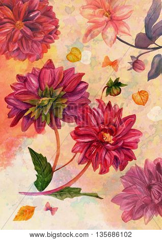 Vintage style greeting card with hand painted watercolor dahlias leaves and butterflies on toned paper textures